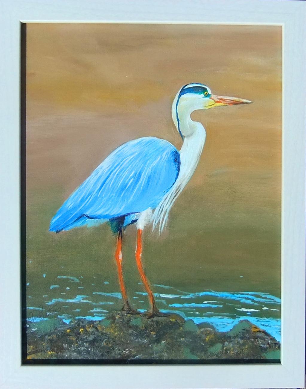 Happy Blue Heron 9 x 12    $75