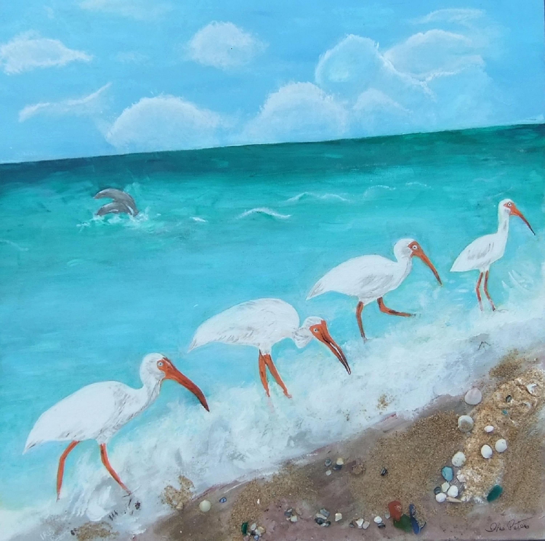 Ibises on the Beach 24 x 24 $225