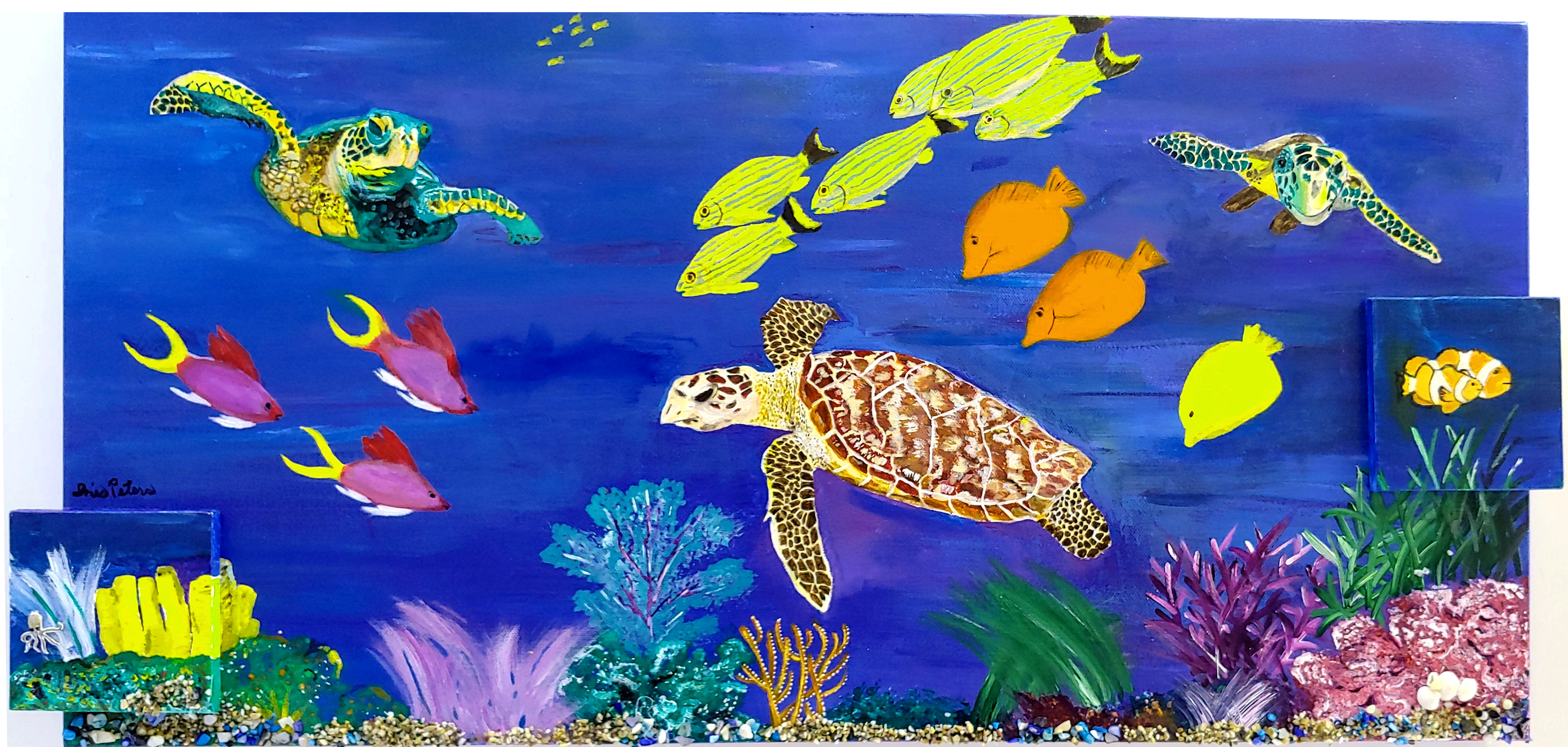 3 sea turtles and friends  30 x 15   $250