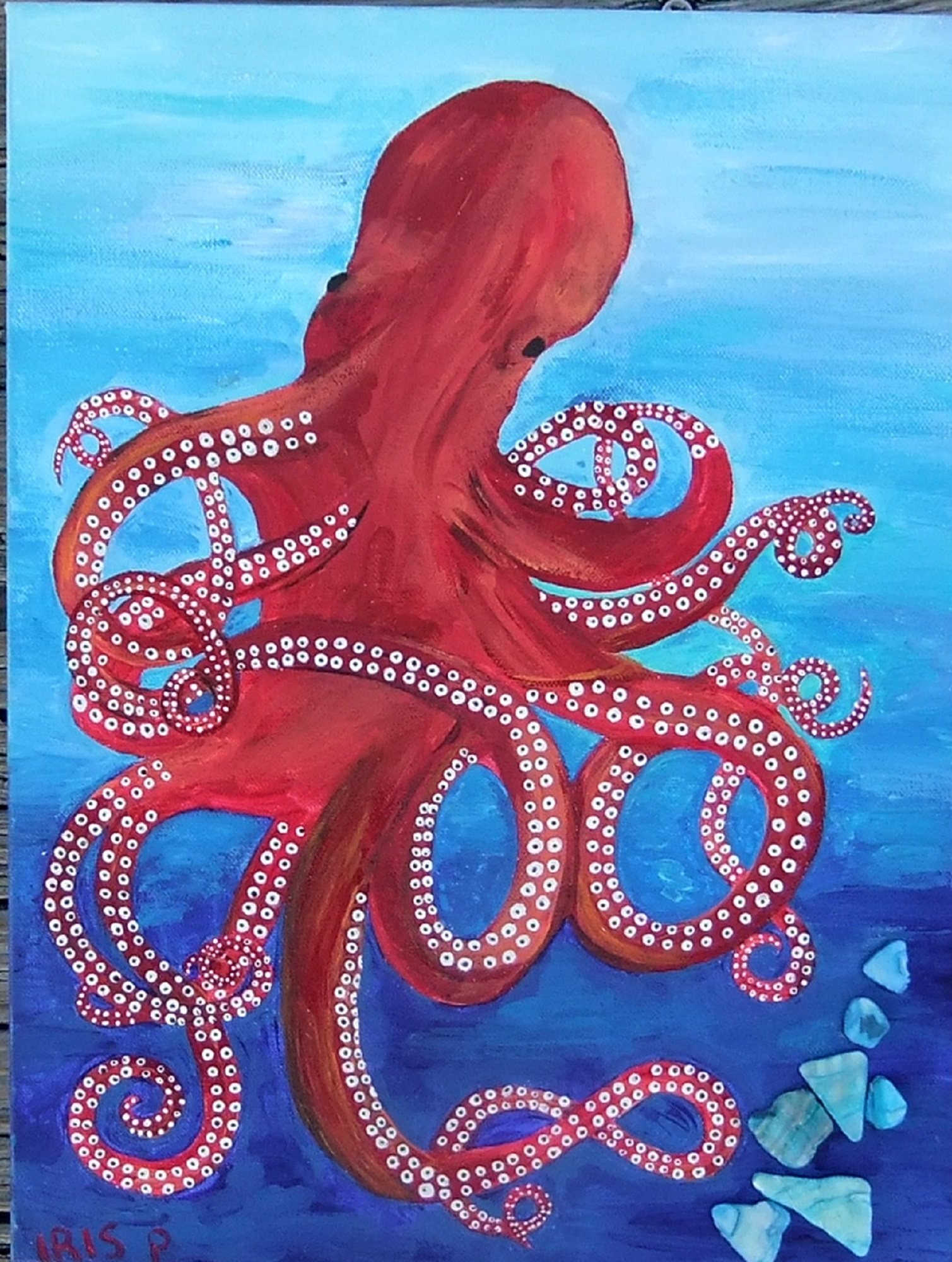 Red  Octopus 12 x 16   $75