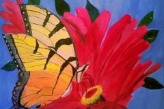 Butterfly on Flower 24 x 24  $250